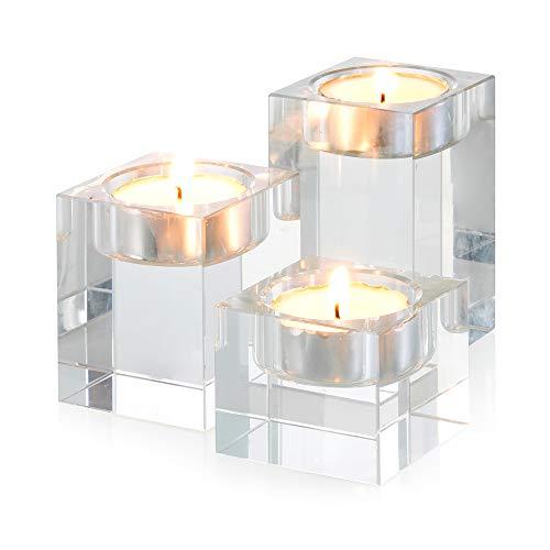 Sziqiqi Teelichthalter Glas Kerzenhalter Set aus Kristallglas, Teelichter Glas Kristall, Kreatives Ornament für Zuhause, Esstisch und Bar, Platz