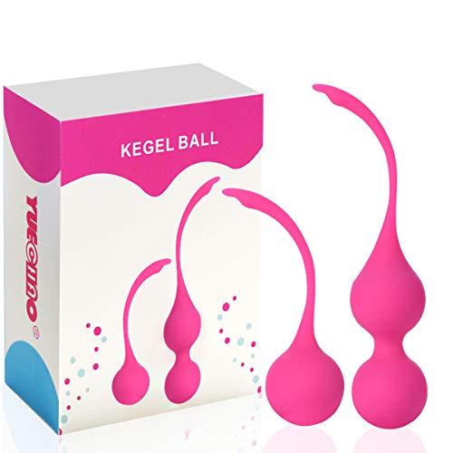 Kit de Pesas de Ejercicio Kegel de Silicona Medica (juego de 2) - Bolas Chinas de ejercicios vaginales - Control de Vejiga para Mujer & Terapia de Refuerzo del Suelo Pélvico (Rosa)
