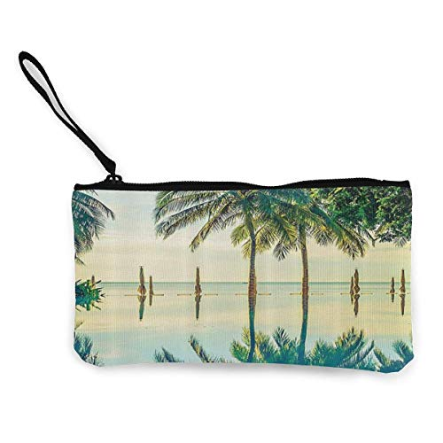Clutch Bag,Pool Mit Baum Silhouetten Leinwand Modische Geldbörsen Für Walking Shopping Dating,22(L) x12(W) cm