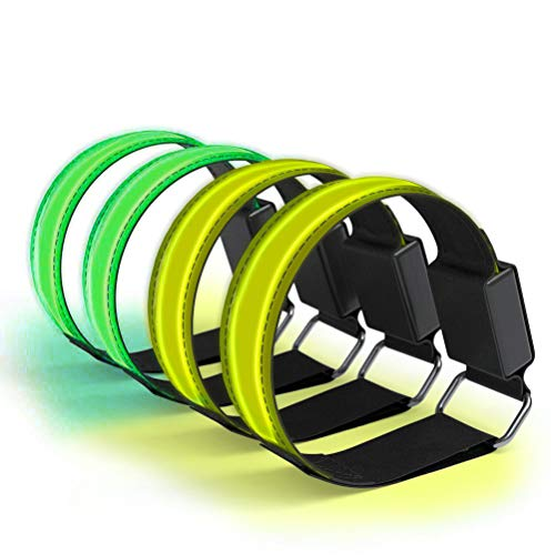 Kelisidunaec 4 pulseras LED recargables, bandas luminosas, bandas reflectantes, luz de seguridad...