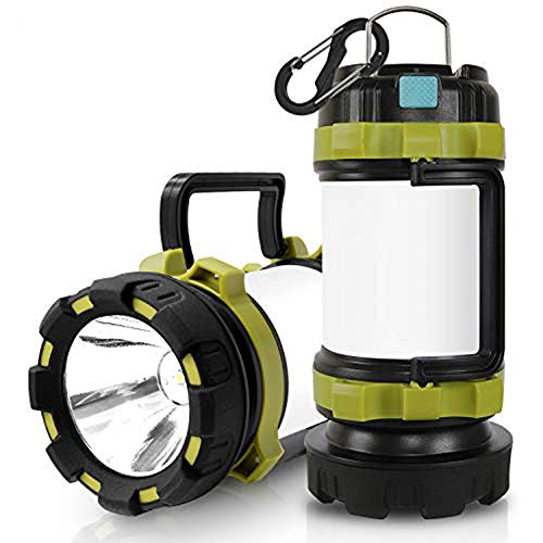 Wsky LED Camping Lantern Rechargeable Light Flashlight - T2000 High Lumen, 6 Modes, 3600mAh Power Bank - Best Lantern Flashlight for Camping, Outdoor, Hurricane, Emergency, Everyday Light Flashlight