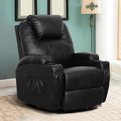 Best Esright Massage Recliner Chair Heated PU Leather Ergonomic Lounge 360 Degree Swivel (Black)