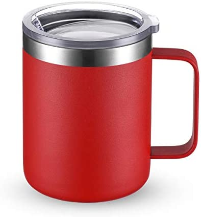 Civago - Taza de café de acero inoxidable con asa, 12 onzas, doble pared, aislada al vacío, con tapa, ideal para viajes, Paquete de 1, Rojo