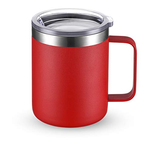 CIVAGO Stainless Steel Coffee Mug Cup with Handle, 12 oz Double Wall Vacuum Insulated Tumbler with Lid Travel Friendly (Red, 1 Pack)