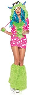 Women's 2 Piece Melody Monster Dotted Dress with Furry Monster Hood