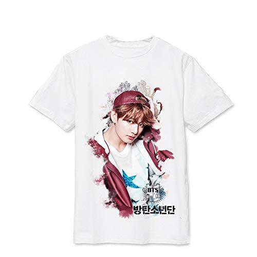 Tee Shirt Unisexe Kpop Bangtan Boys T-Shirt Lâche Gilet Décontracté Femmes à Manches Courtes Suga Jin Jimin Jung Kook J-Hope Rap-Monster V Chemise