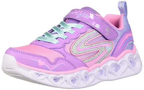 Skechers Kids Girl's Heart Lights-Love Spark Shoe, Lavender/Multi, 2 Medium US Little Kid