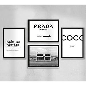 4er Poster Set DIN A4 – Wandbilder – 300g Premium Fotopapier Matt – Vierer Set Coco Chanel Hakuna Matata Coco Chanel…