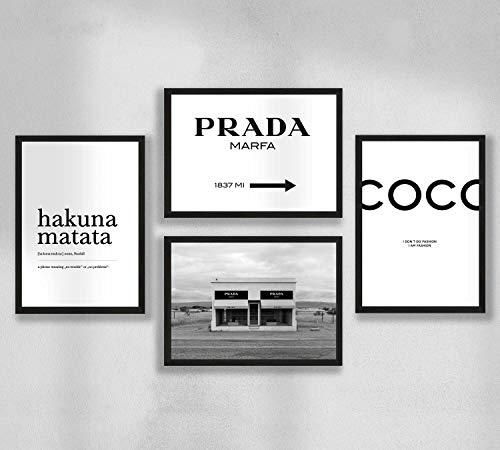Decoración de pared - Juego de póster de pared de pósteres de sala de estar premium, tamaño A4, sin marco, Prada Marfa, Coco, Hakuna Matata