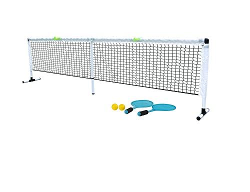 Scatch Unisex-Youth 8711252143897 Set mit Tennisnetz und Schlägern-Netzgarnitur Kombi-Freistehendes Freizeit-Netz für Badminton, Street-Tennis und andere Sportarten, Weiß