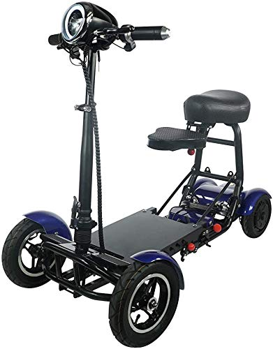 Fold and travel lightweight mobility scooters for adults foldable lightweight powered scooter 4 wheel mobility scooter carrier power wheel chairs mobility chair scooter de movilidad (blue)