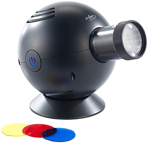 infactory Projektor Uhr: LED-Uhrenprojektor, 3 Farbfilter, projiziert Uhrzeit bis Ø 120 cm (Projektionsuhren)