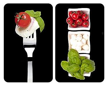 Wenko Placas Cobertoras de Vidrio Universales Caprese, Juego de 2 Piezas para Todos los Tipos de Cocinas, Vidrio Endurecido, 30 x 2 - 6 x 52 cm, Color Multicolor