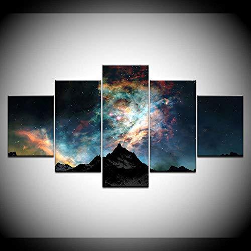 Pintura De Lienzo Snow Galaxy Paisaje 5 Piezas Pintura De Arte De Pared Fondos De Pantalla Modulares Impresión De Cartel para Sala De Estar Decoración del Hogar(Enmarcado)