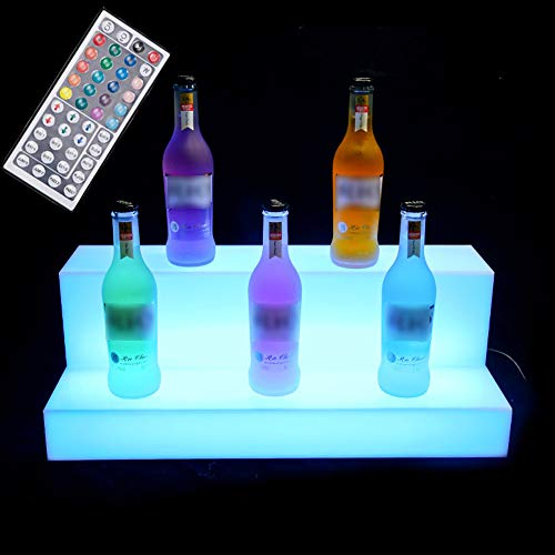 LED Lighted Liquor Bottle Display 2 Step Illuminated Bar Wine Drinks Bottle Shelf Lighting Stand For Home Commercial Bar Party With RF Remote Control,20in