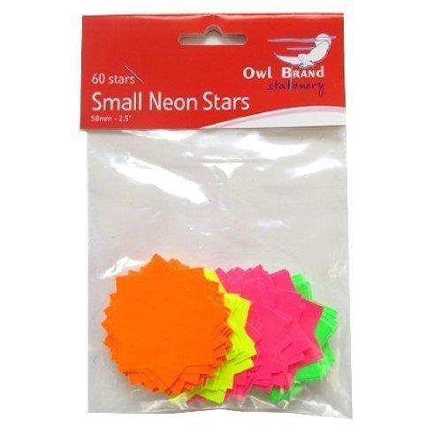 Estrellas de neón Precios Tarjetas - Paquete de 60 - Los colores mezclados - verde, amarillo, rosa, naranja - Tamaño 58mm x 58mm
