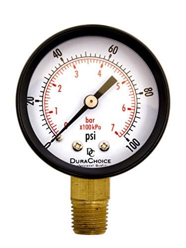"DuraChoice 2"" Pool Spa Filter Utility Pressure Gauge for Water, Oil, Gas, 1/4"" NPT Lower Mount, Black Steel Case, 0-100PSI"