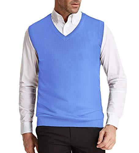 Classic V Neck Solid Sweaters Vest Men Plain Sleeveless Pullover Sky Blue 2XL