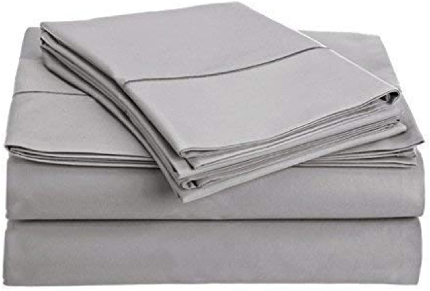 800 Thread Count 100% Long Staple Egyptian Cotton Sheet Set, (Marrow stitch Classic Look Hem )Queen Sheets, Luxury Bedding, Queen 4 Piece Set, Smooth SatIn Weave,Silver, by Audley Home