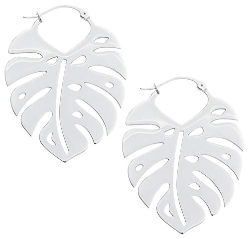Wildcat Monstera Leaf Hoops Frauen Ohrring silberfarben Edelstahl Fashion & Style