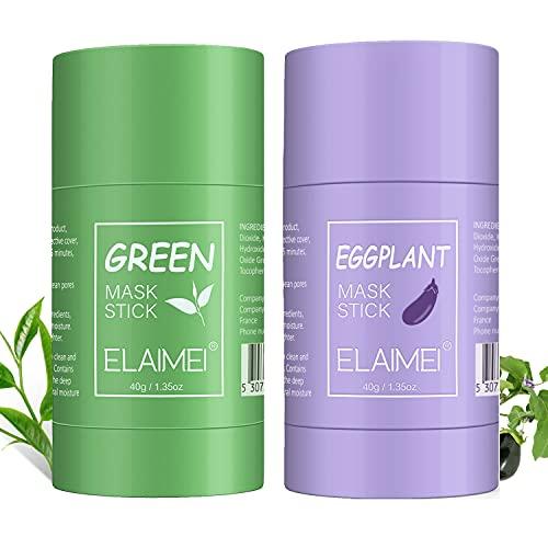 Green Mask Sticks, 2PCS Green Tea/Eggplant Purifying Clay Stick Mask, Blackhead Remover Masque, amélioration de lhydratation de la peau, Hydrate et Protège pour une Peau Douce et Éclatante