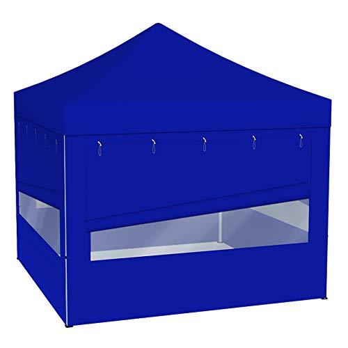 Vispronet® Faltpavillon Eco 3x3 m ✓ 4 Zeltwände mit Panoramafenster ✓ Scherengittersystem ✓ inkl. Dach mit Volant (Blau)
