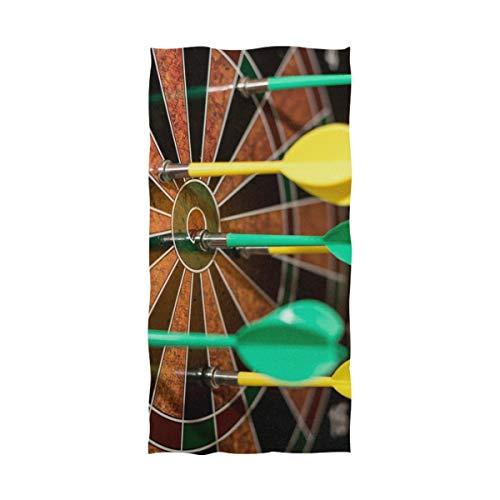 MONTOJ - Toalla de dardos de algodón suave extra grande, color verde y amarillo