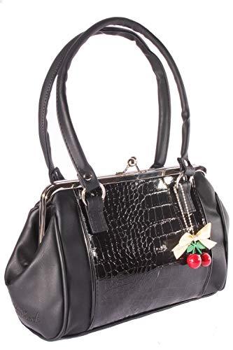 SugarShock Damen Kroko-Optik Kisslock Handtasche 159340028 Schwarz