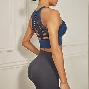 High Impact Seamless Sports Bra Women Yoga Bra Running Crop Tops Workout Fitness Activewear Racerback Sports Bras (L, Royal Blue)