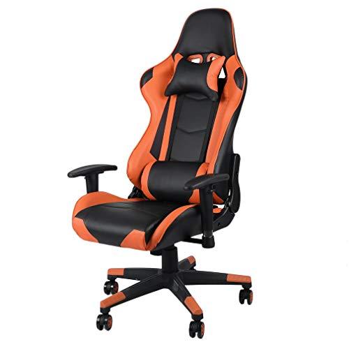 Gaming Stuhl Race Büro Stuhl Gamer Ergonomischer Stuhl Drehstuhl Computer Stuhl Ergonomie Konferenz Stuhl Arbeits Stuhl Lordosenstütze PU-Leder Verstellbarer Arbeitsstuhl (Orange)