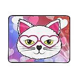 JEOLVP Cat Hearts Bedeutung Valentines Day Pets Tragbare und Faltbare Deckenmatte 60x78 Zoll Handliche Matte für Camping Picknick Strand Indoor Outdoor Reise