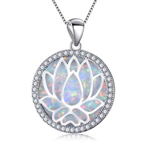 Collana Pendente Gioielleria Collana con Fiore di Loto Cavo Ciondolo Rotondo Opale di Fuoco per Le Donne Fashion-1