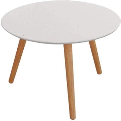 Art Round Modern Scandinavian Wooden Coffee Table - White