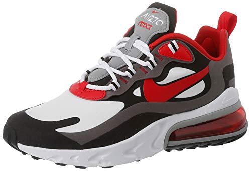 Nike Herren Air Max 270 React Leichtathletik-Schuh, Mehrfarbig Black Univ Red White Iron Grey Particle Grey, 45 EU