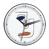 Reloj de Cuarzo de Silencio for la decoración de la Oficina en el hogar,Reloj de Pared de Arte Azul de Klein,Reloj de Dormitorio no ticture con batería Creativa (Color : Black Frame, tamaño : 10in)