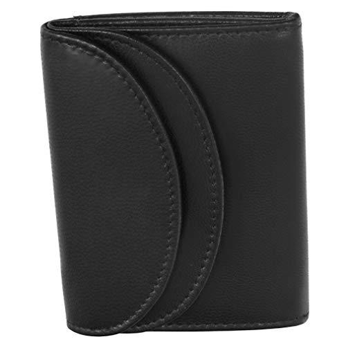 Fa.Volmer Fa.Volmer ® RFID Minibörse aus Echt-Leder - Kleine Geldbörse in schwarz mit Hightech-Silbergewebe #Mini-Comfort