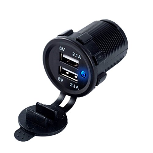 JHD 5V 2.1A Waterproof Dual USB Boat Motorcycle Car Charger Power Adapter Socket