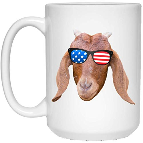 N\A Divertido Rojo de Cabra con Gafas de Sol de Bandera Americana Taza Blanca