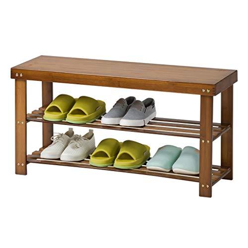 DAGCOT Zapatero Banco de Zapatos de Dos Pisos de bambú Entrada for el hogar Estante for Zapatos Estante de Almacenamiento Simple for el Pasillo de Entrada Familiar (Size : 90cm)