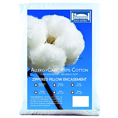 BARGOOSE Home Textiles Standard, AllergyCare 100% Cotton, Dust Mite Allergen Proof, Zippered Pillow Cover/Protector (Standard)