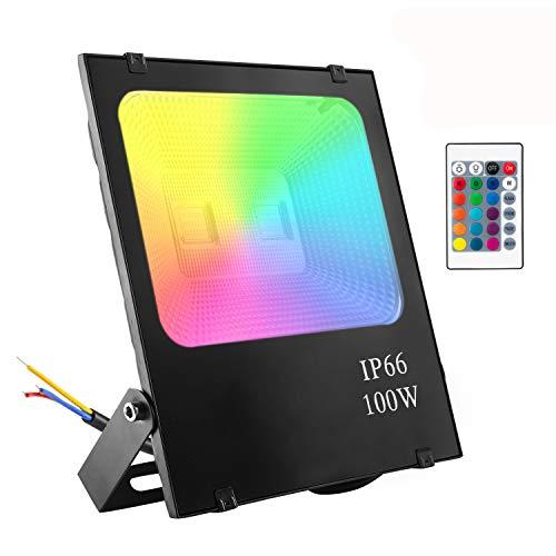 Aufun 100W LED Außen Strahler RGB mit Fernbedienung - farbwechselhafte 4 Modi 16 Farben LED Fluter - LED Sicherheitsleuchte Schwarz Wasserdicht IP66 (100W RGB)