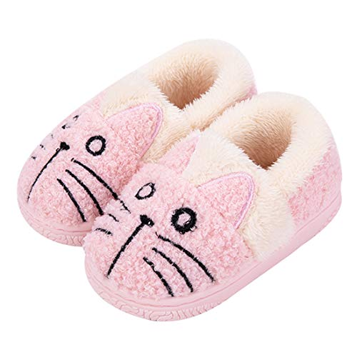 Girls Slippers Winter Kids House Slippers Boys Plush Warm Indoor Shoes Soft Slip On Bedroom Slippers Comfort Mule Outdoor, 11.5/12 UK Child, 2-pink