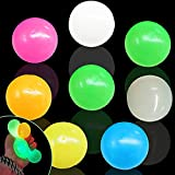 8Pcs Fluorescence Glowing Stress Relief Balls Sticky Ball, Ceiling Luminescent Toy Wall Decompress Squeeze Vent Ball Fun Toy for Kids and Adults Fun Toy for ADHD, OCD, Anxiety