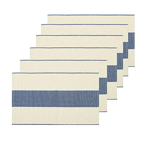 REDEARTH Tischsets garngefärbt gerippt gewebt Tischwäsche für quadratische, runde rechteckige Esstisch, Couchtisch, Konsole, Kommode, 100% Baumwolle (14x20, Indigo) 6er Set