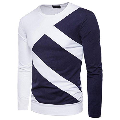 Hommes T-shirt col rond à manches longues,Toamen Top Patchwork Slim Chemisier Muscle Décontractée Automne et hiver Mode (S, Blanc)