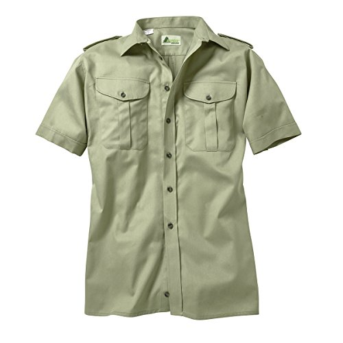 SKOGEN Jagdhemd schilfgrün mit kurzem Arm Übergröße, Kragenweite:46