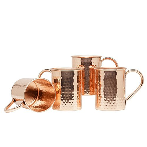 Zap Impex Pure Copper Pipe Hammered Copper Moscow Mule Mug, Non-Coated, Ideal for all Chilled Drink Dazzling Bar or Home Best Gift Set of 4