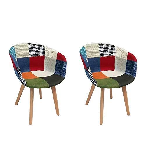 LOVEMYHOUSE Patchwork Stuhl Set aus 2 Stoff Retro Esszimmerstühle mit Rückenlehne Armlehne und Buche Beine Eiffel Bürostuhl für Home Kitchen Wohnzimmer