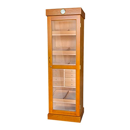 Quality Importers Trading Company Premium Quality Tower Humidor, Large Capacity Holds Up to 3000 Cigars, 3 Adjustable Shelves, 8 Drawers, 2 Interior A/C Outlets Model HUM-2000, Oak Finish
