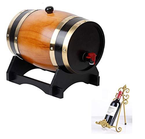 Barril de vino 5L Barrica de roble con papel de aluminio de la guarnición, independiente Wine Rack de visualización Tabla de vino o decoración de la barra o decoraciones escena de la boda (el medio am